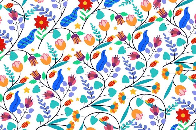 カラフルなエキゾチックな花の背景 無料ベクター