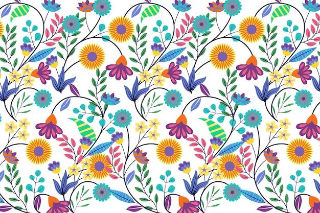Красочная экзотическая цветочная тема Бесплатные векторы