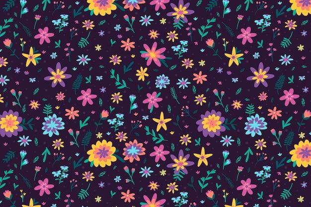 カラフルな頭が変な花柄の背景デザイン 無料ベクター