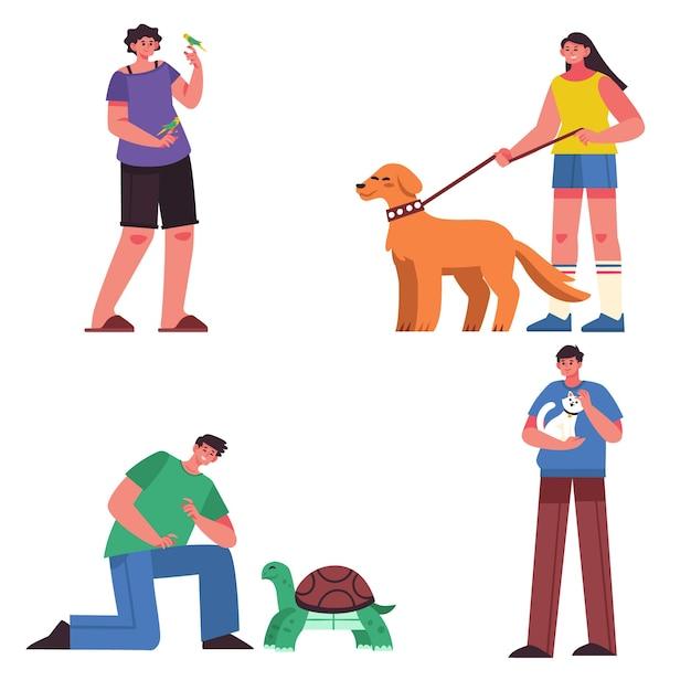 Люди с различными концепциями иллюстрации домашних животных Бесплатные векторы