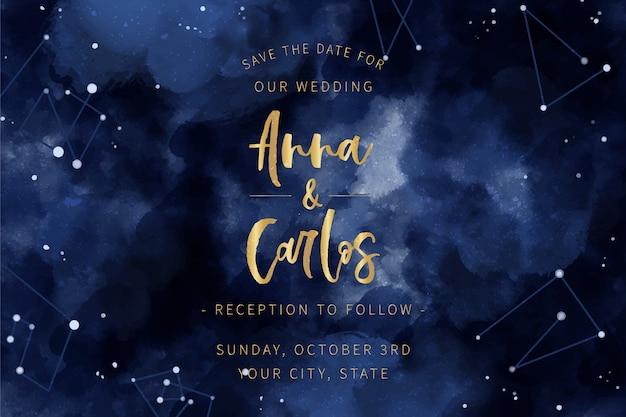 Акварель галактика свадебное приглашение тема Бесплатные векторы