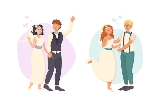 Рука рисунок рисунок свадьбы пара тема Бесплатные векторы