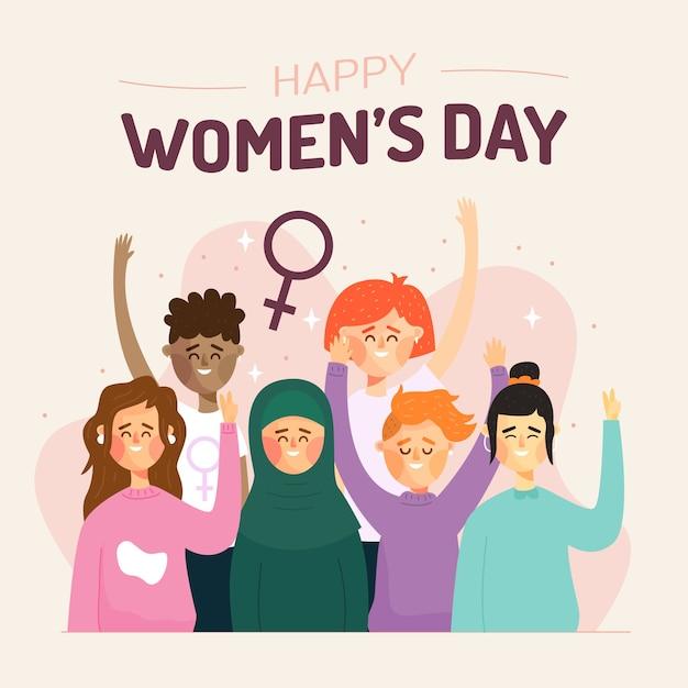 Плоский дизайн художественная концепция для женского дня Бесплатные векторы
