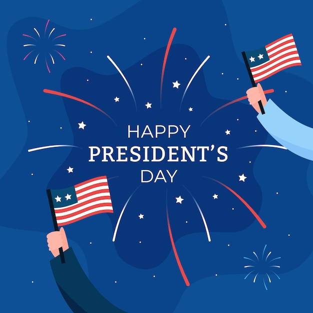 大統領の日の花火のテーマ 無料ベクター