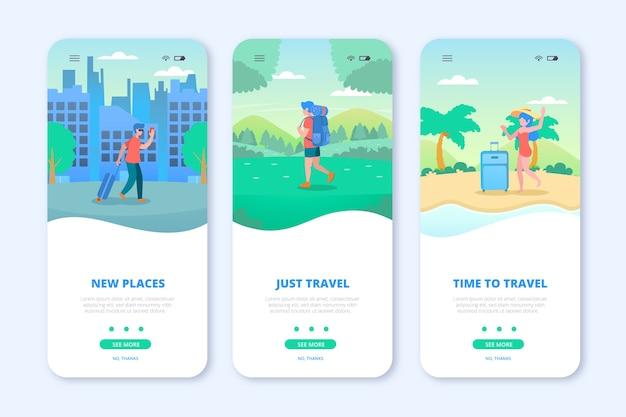 Экран приложения для путешествий Бесплатные векторы