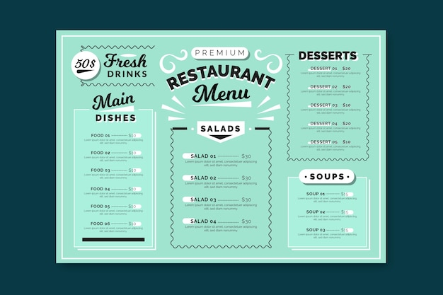 カラフルなレストランメニューテンプレート 無料ベクター