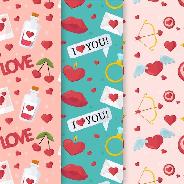 バレンタインデーのパターンが大好き 無料ベクター