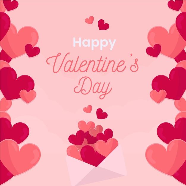 ピンクの心で幸せなバレンタイン背景 無料ベクター