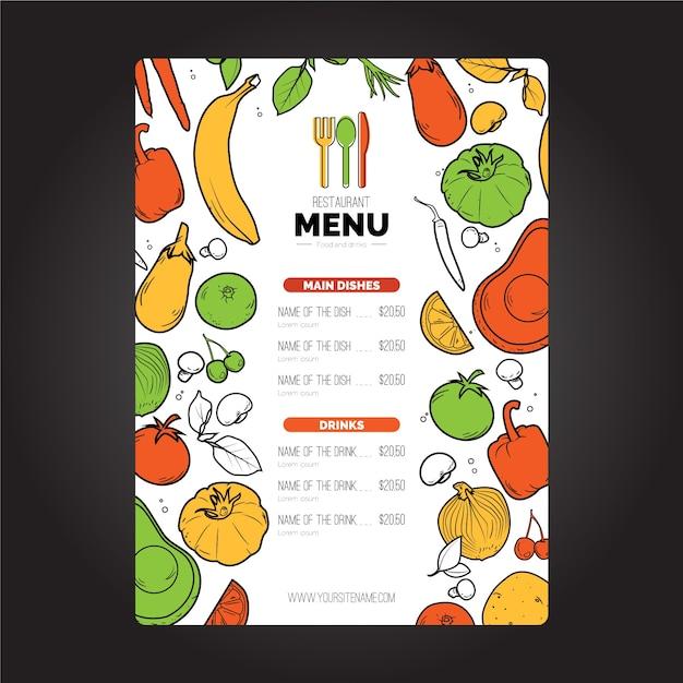 Веганский ресторан шаблон меню обложки Бесплатные векторы