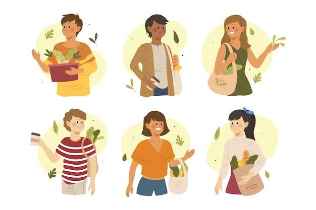 Зеленая тема образа жизни людей для иллюстрации Бесплатные векторы