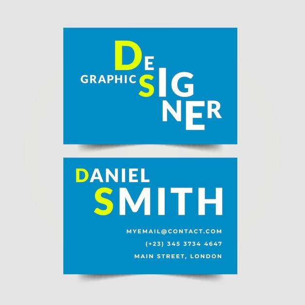 グラフィックデザイナーの名刺文字デザイン 無料ベクター