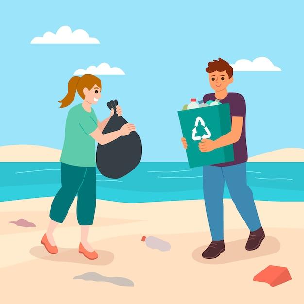 日光の下でビーチを掃除する人々 無料ベクター
