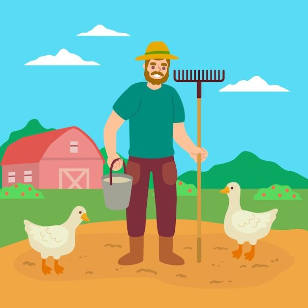 Концепция органического земледелия и утки Бесплатные векторы