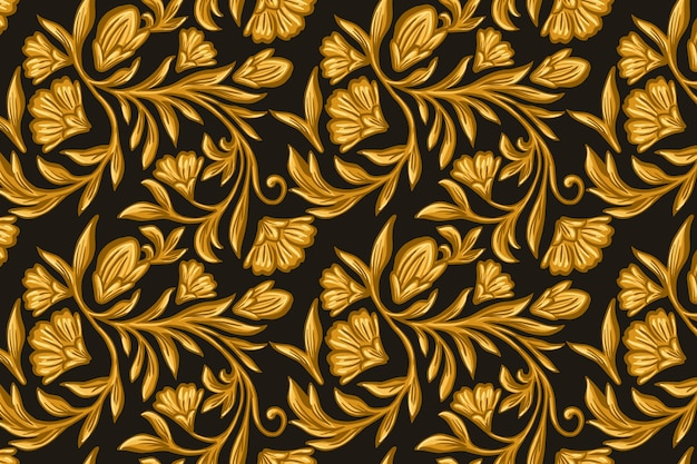 黄金の観賞用の花の背景 無料ベクター