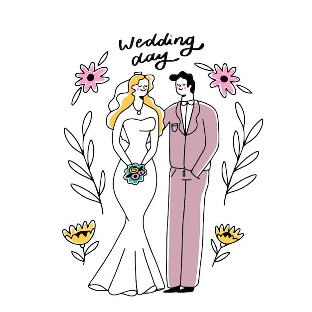 Ручной рисунок концепции свадьбы пара Бесплатные векторы