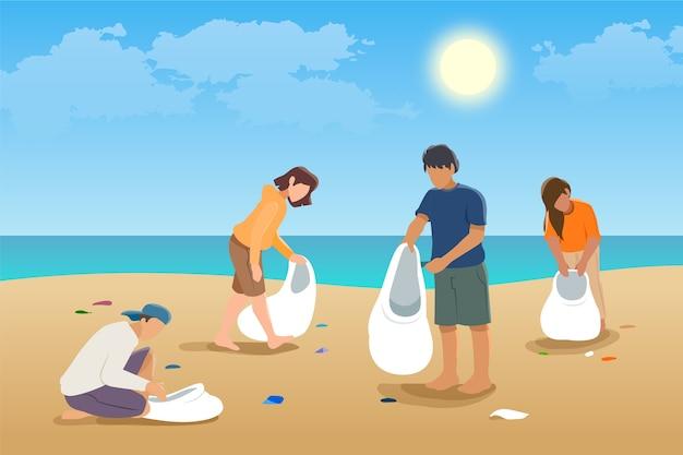 Люди чистят пляж иллюстрации концепции Бесплатные векторы