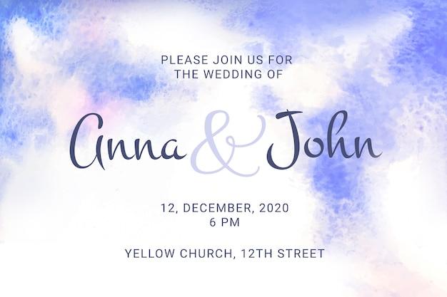 水彩画の汚れと書道の結婚式の招待状 無料ベクター