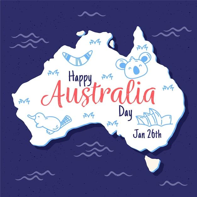 手描きのオーストラリア日の背景 無料ベクター