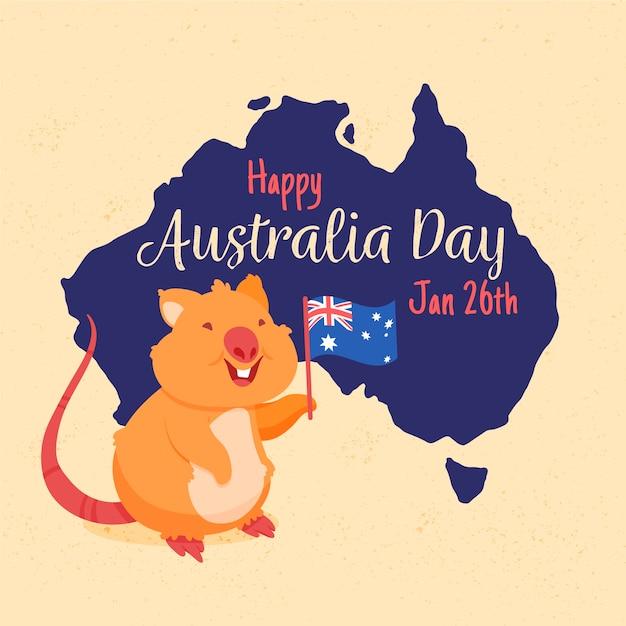 オーストラリアの日の手描きの背景 無料ベクター