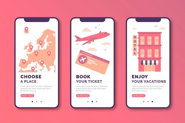 Онлайн коллекция экранов приложения для путешествий Бесплатные векторы