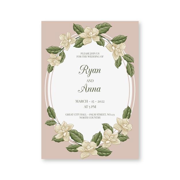 手描きの花の結婚式の招待状 無料ベクター