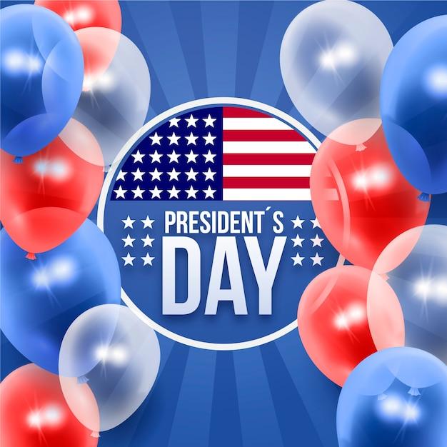現実的な風船の背景を持つ大統領の日 無料ベクター