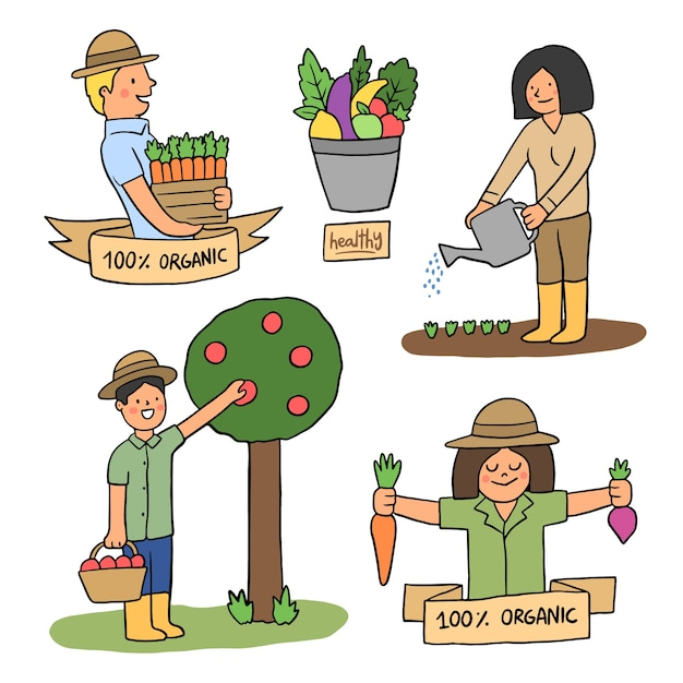 Красочная концепция органического земледелия для иллюстрации Бесплатные векторы