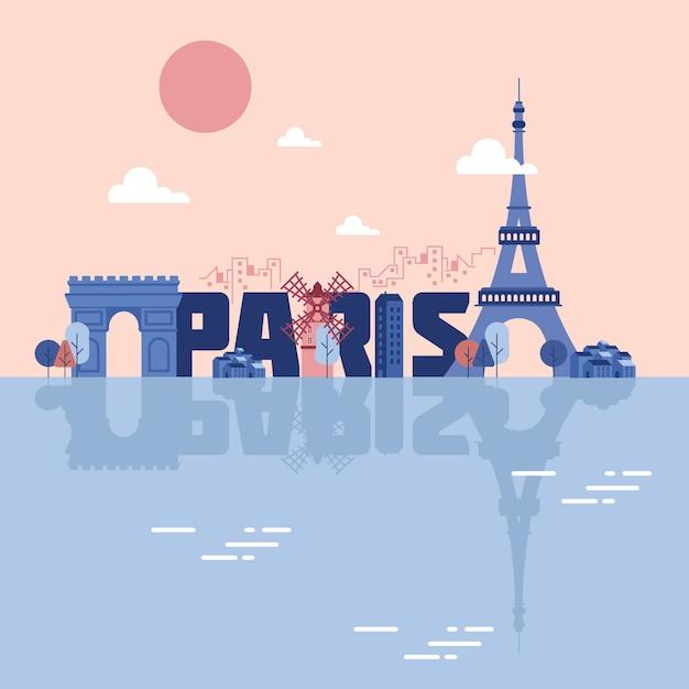 パリのランドマークイラスト 無料ベクター