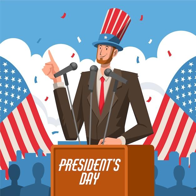 大統領の日のカラフルな挨拶 無料ベクター