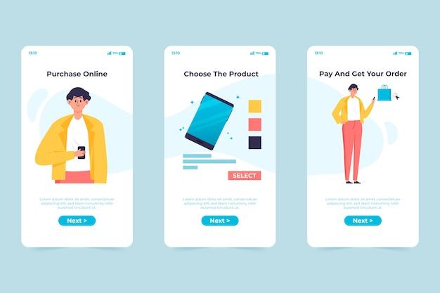 Купить онлайн экран приложения Бесплатные векторы