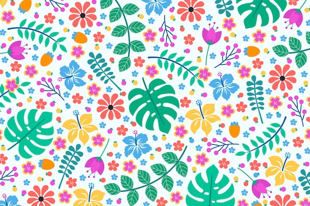 カラフルなエキゾチックな花の背景デザイン 無料ベクター