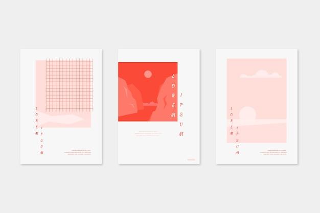 Коллекция японских минималистических обложек Бесплатные векторы