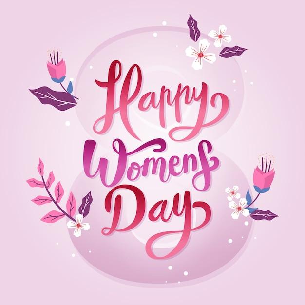 Надпись женский день дизайн Бесплатные векторы