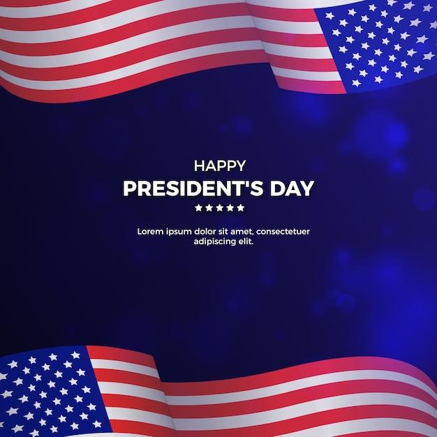 День президентов концепции с реалистичным флагом Бесплатные векторы