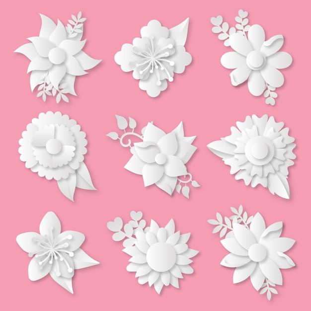 Коллекция весенних цветов в бумажном стиле Бесплатные векторы