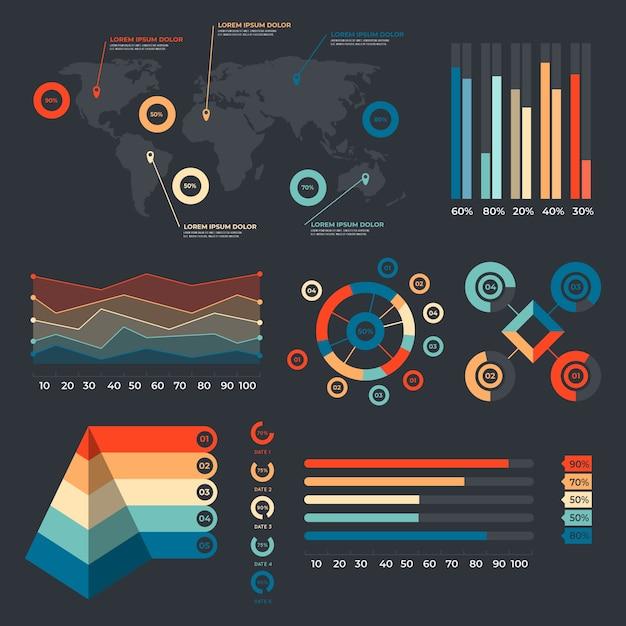 Инфографика с ретро-цвета в плоском дизайне Бесплатные векторы