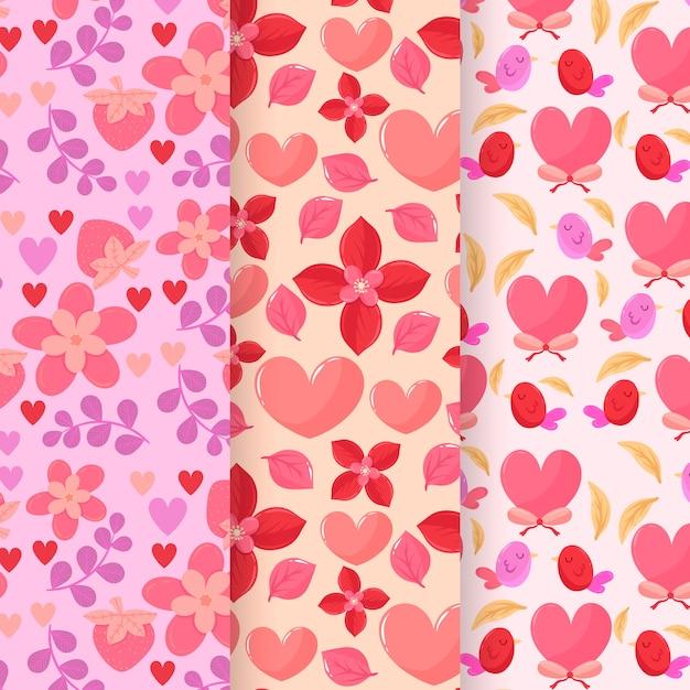 フラットなデザインのバレンタインの日パターンのコレクション 無料ベクター