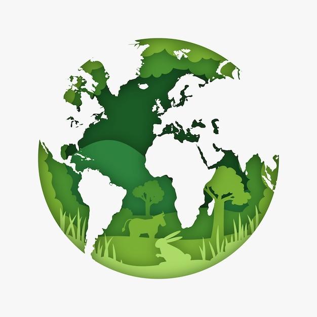 地球と紙のスタイルの環境コンセプト 無料ベクター