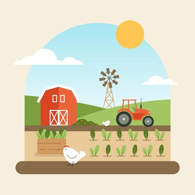 Концепция органического земледелия с фермой Бесплатные векторы