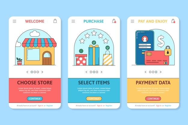 オンライン購入のオンボーディングアプリ画面 無料ベクター