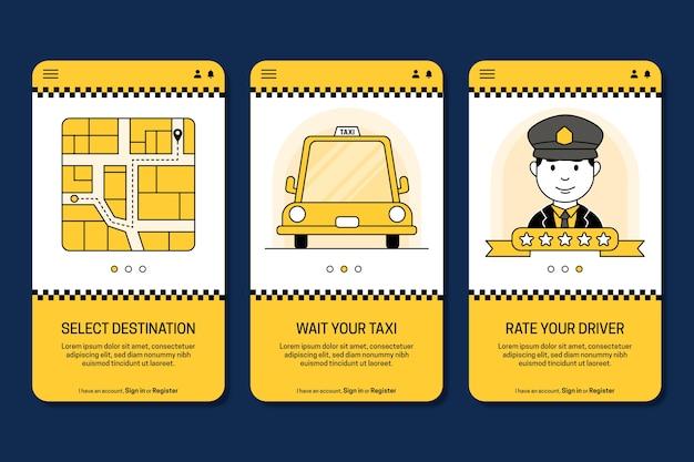 タクシーサービスのオンボーディングアプリ画面 無料ベクター