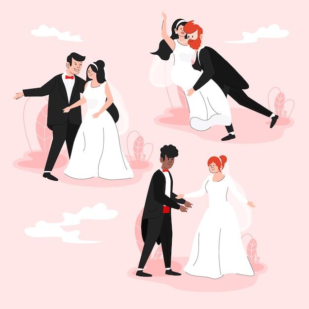 フラットなデザインの結婚式のカップル 無料ベクター