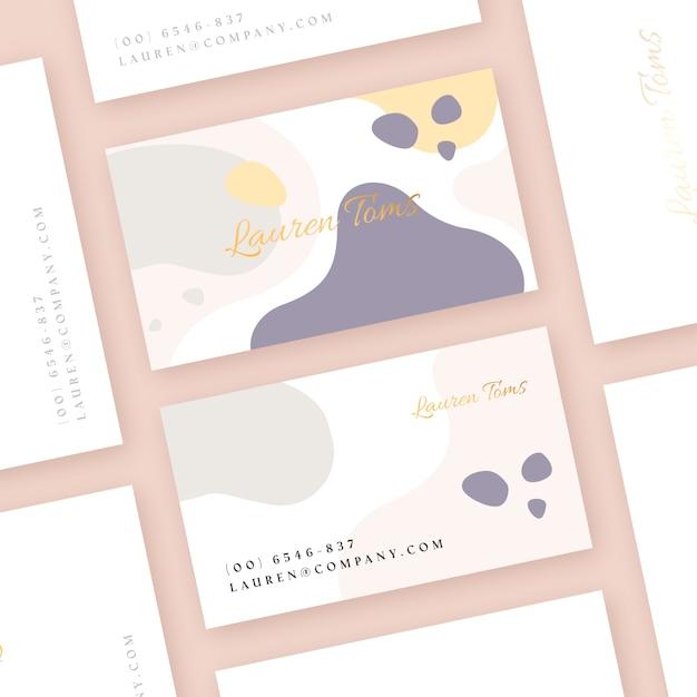 Шаблон визитки с пятнами пастельных тонов Бесплатные векторы