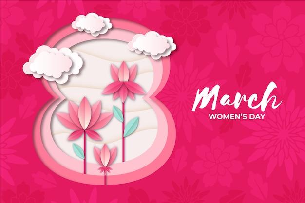 花と紙のスタイルで女性の日 無料ベクター