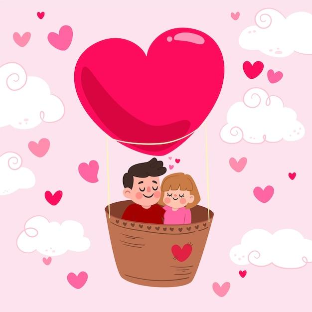 День святого валентина фон с парой в воздушном шаре Бесплатные векторы