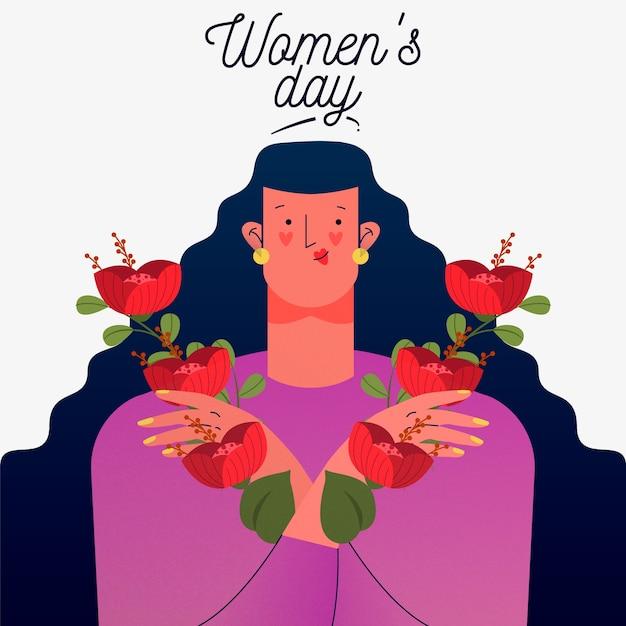 花を持つ女性と花の女性の日 無料ベクター