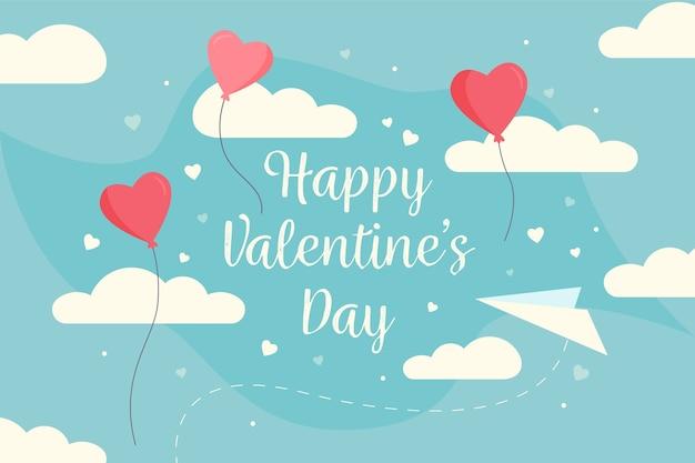 ハート形の風船と雲とバレンタインデーの背景 無料ベクター