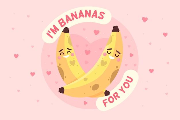 バナナとバレンタインデーの背景 無料ベクター