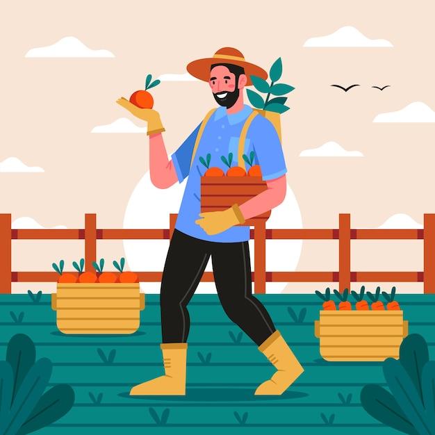 Концепция органического земледелия с человеком Бесплатные векторы