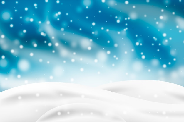 Снегопад буря с фоном белых холмов Бесплатные векторы